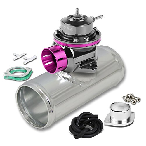 Universal Adjustable Type-FV Purple 4 inches Aluminum Blow Off Valve BOV + 2.5 inches Silver Turbo Flange Adapter Pipe