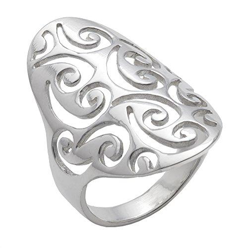 Swirl Ring Open (Silverly Women's .925 Sterling Silver Open Filigree Swirl Spiral Pattern Long Thumb 30mm Ring)