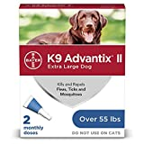 Flea and tick prevention for dogs, dog flea and tick treatment, 2 doses for dogs over 55 lbs, K9...