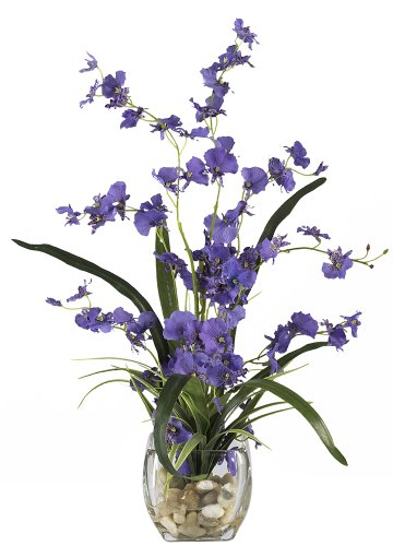(Nearly Natural 1119-PP Dancing Lady Orchid Liquid Illusion Silk Flower Arrangement,)