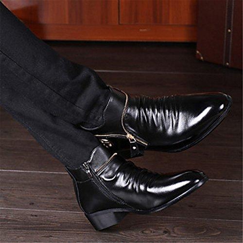 GTYMFH Oxfords Para Hombre Botín De Moda Confort Zapatos De Cuero De Tacón Alto Zapatos De Boda Fiesta De Noche Talón Plano Cremallera Negro: Amazon.es: ...