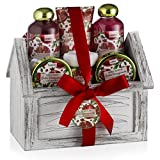 Valentines Bath Gift Spa Basket Set, Luxurious 8 Piece Bath & Body Set For Men/Women, Exotic Pomegranate Scent – Shower Gel, Bubble Bath, Body Lotion, Bath Salt, Body Scrub, Towel, Cosmetic Bag