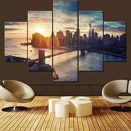 House Decorations Living Room Brooklyn Bridge Paintings Manhattan Cityscape Pictures 5 Pcs/Multi Panel Canvas Wall Art Contemporary Artwork Home Framed Ready to Hang Posters and Prints(60''Wx40''H)