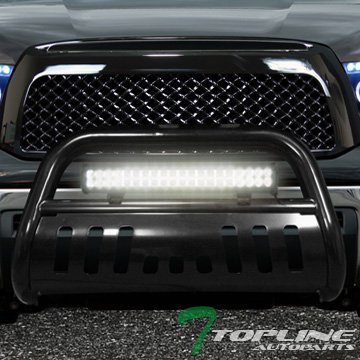 Topline Autopart Black HD Bull Bar Bumper Guard+120W Cree Led Fog Light 07-14 Toyota Tundra/Sequoia