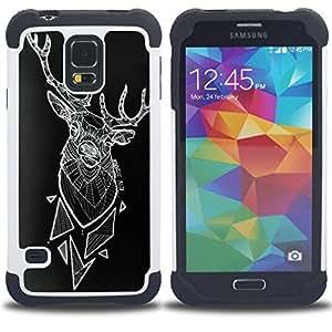 """SAMSUNG Galaxy S5 V / i9600 / SM-G900 - 3 en 1 impreso colorido de Altas Prestaciones PC Funda chaqueta Negro cubierta gel silicona suave (Arte ciervos Polígono Arte Negro abstracto"""")"""