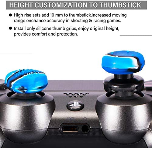 Playrealm FPS Thumbstick Extender & 3-D Texture Rubber Silicone Grip Cover 2 Sets for PS5 Dualsenese & PS4 Controller (Camouflage Blue)