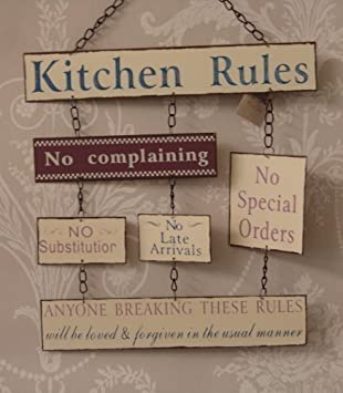 Elegant Vintage Shabby Chic Metal Style Kitchen Rules Sign Plaque Board