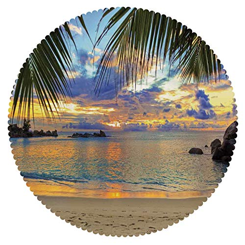iPrint Multicolor Round Tablecloth [ Coastal Decor,Sunset at Beach Rumbling Ocean Luxurious Resort with Palm Trees Travel Locations Picture ] Home Accessories