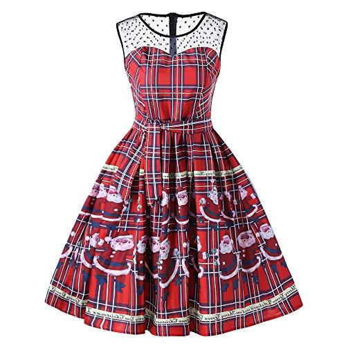 Seaintheson Christmas Dress for Women Vintage - Plaid