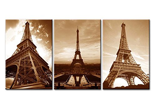 Canvas Print Wall Art Painting For Home Decor Famous Vintage Golden Sunset Eiffel Tower In France Paris In Brown 3 Pieces Panel Paintings Modern Giclee Stretched And Framed Artwork The Picture For Living Room Decoration Architecture Pictures Photo Prints On Canvas