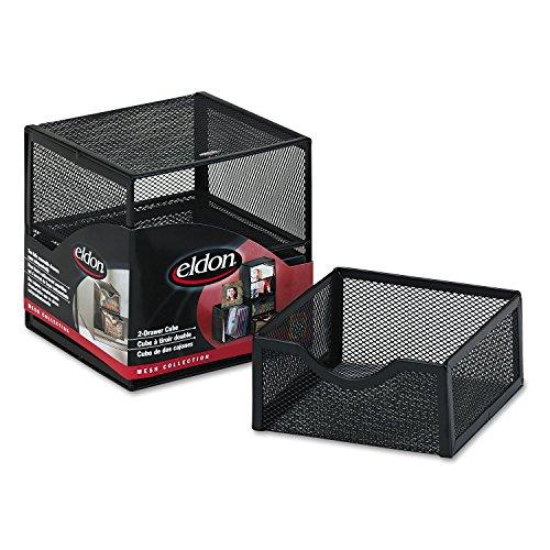 Rolodex Organization Two-Drawer Cube, Wire Mesh, Storage, 6 x 6 x 6, Black (Eldon Black Mesh)