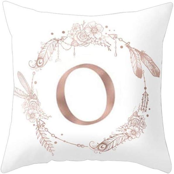 zuhause oder im Auto a Amesii Kissenbezug mit Buchstabe und Blumenmotiv Deko f/ür Schlafsofas