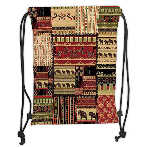 New Fashion Gym Drawstring Backpacks Bags,African,Patchwork Style Asian Pattern with Elephants and Cultural Ancient Motifs Print Decorative,Red Green Black Soft Satin,Adjustable S