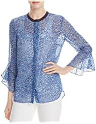 Elie Tahari Womens Ruby Printed Silk Button-Down Top