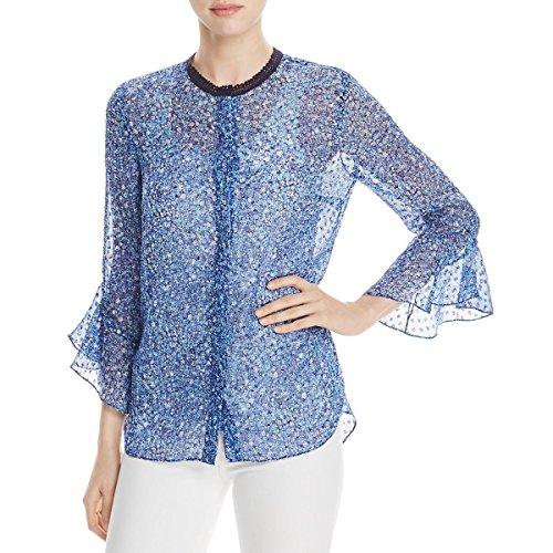 Elie Tahari Womens Ruby Silk Sheer Button-Down Top Blue XL