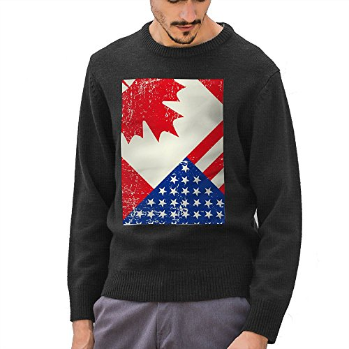 Hailin Tattoo Guys Knit Sweater Pullover 3D Printed Flag Day Merica Independence Day Canada Crewneck Adult Sweater S-XXL Black X-Large