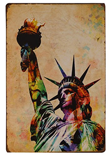 Fly Spray Statue Of Liberty Places Of Interests Decorative Signs Tin Metal Iron Sign Painting For Wall Home Office Bar Coffee Shop