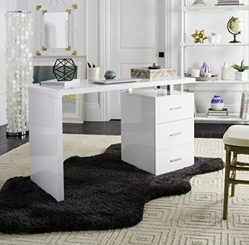 Antique Inspired Writing Desk - Safavieh FOX2235A Home Collection Pine Desk, White and Chrome