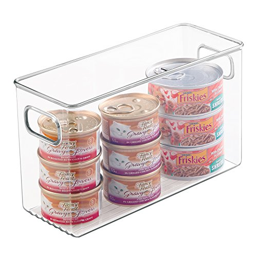 mDesign Canned Cat Food Organizer Bin for Pet Storage – Tall, Clear