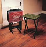 Wine Label TV Tray Set with Stand,Wood,Set of 4