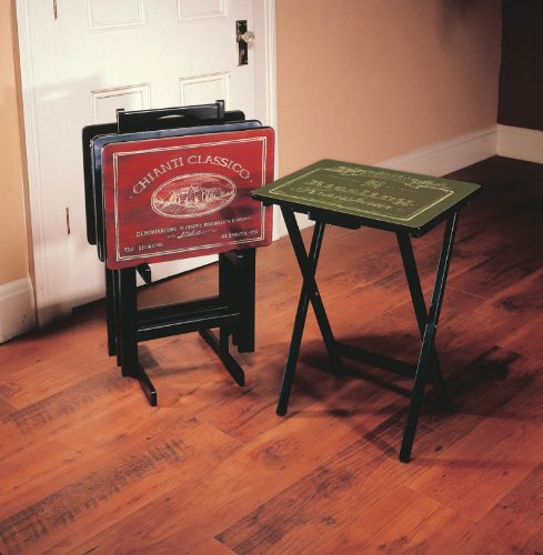 Wine Label TV Tray Set with Stand,Wood,Set of 4 by Ashley Gifts