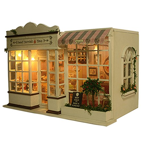 Rylai Wooden Handmade Dollhouse Miniature DIY Kit - Sweet Berries Time Series Wooden Dollhouses with Furniture/Parts& Furniture X'mas Gift(1:24 Scale Dollhouse)