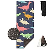 FHIEOMAT Unisex Kind Dinosaurs Pattern Yoga And Pilates Mat Exercise Mat With Carrying Bag