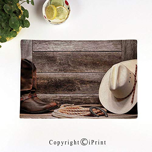 LIFEDZYLJH Heat-Resistant Placemats,Stain Resistant Anti-Skid Washable Table Mats Woven Vinyl Placemats,American West Rodeo White Straw Cowboy Hat with Lariat Leather Boots on Rustic Barn Wood,
