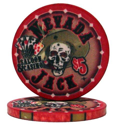 Nevada Jack Casino Grade Ceramic 10-gram Poker Chip – Pack of 50 ($5 Red)