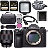 Sony ILCE9/B Alpha a9 Mirrorless Digital Camera ILCE9/B + Rokinon AF 50mm f/1.4 FE Lens for E 128GB SDXC Card + HDMI + Carrying Case + Memory Card Wallet + Card Reader + LED Light Bundle