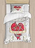 Ambesonne Hope Twin Size Duvet Cover Set, Antique Anchor and Spiritual Symbol on Heart Motif with Faith Hope Love Quote, Decorative 2 Piece Bedding Set with 1 Pillow Sham, Ruby Grey Beige