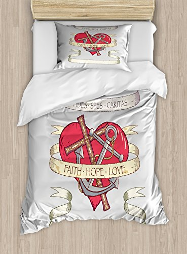 Ambesonne Hope Twin Size Duvet Cover Set, Antique Anchor and Spiritual Symbol on Heart Motif with Faith Hope Love Quote, Decorative 2 Piece Bedding Set with 1 Pillow Sham, Ruby Grey Beige by Ambesonne