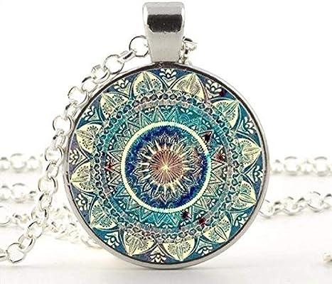 Vintage Glass Dome Necklace Buddhism Chakra Glass Cabochon Pendant Jewelry Om India Yoga Mandala Necklaces for Unisex