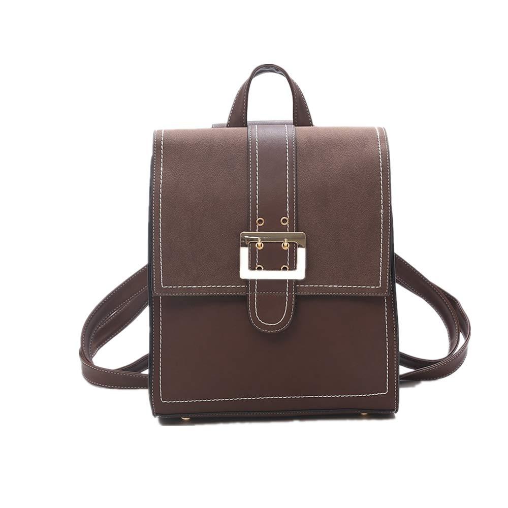 HhGold Braun Vintage-PU Leder Rucksack Quadratische Tasche Schulrucksaecke Rucksack Casual Schulranzen Umhaengetasche Handtasche Schultasche Reisetaschen Backpack (Farbe   Braun)
