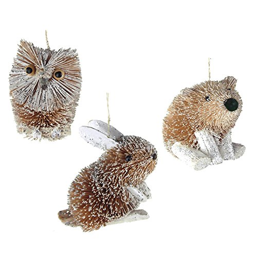 Homeford Buri Winter Animal Christmas Ornaments, Natural, 3-Inch, 3-Piece