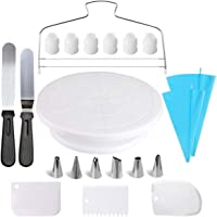 Cake Decorating tool Kit 21pcs, Cake making tools, Decoration Supplies with Rotating Turntable stand, Icing Spatula set…