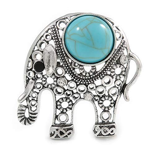 Avalaya Vintage Inspired Elephant Brooch with Simulated Turquoise Stone in Aged Silver Tone - 45mm Tall