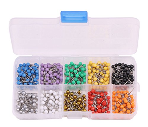 Round Head Map Tacks (PTC Office 1/8 Inch Colorful Small Decorative Map Tacks Round Plastic Head Push Pins for Bulletin Board DIY Craft and Home Office Use, 10 Assorted Colors, each Color 60PCS, 600PCS)