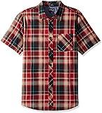 O'Neill Men's Plaid Short Sleeve Shirt, Crimson, Small