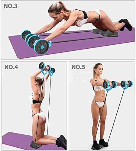SZCQ Men Ab Roller Wheel with Resistance Band Women Flex Abdominal Trainers Double Rollers Home Gym Multi-Functional Exercise Knee mat Body Fitness Equipment Core Ab Workout 3