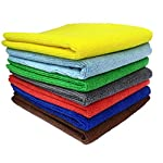 SOBBY Microfibre Cleaning Cloth – 40 cm x 40 cm – 340 gsm, (Multicolor, Pack of 4)