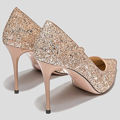NAN Femmes chaussures d'été brillant talons hauts sexy mince talon bout pointu talons hauts parti mariage noir argent or ( Couleur : Silver , taille : EU39/UK6/CN39 ) Or