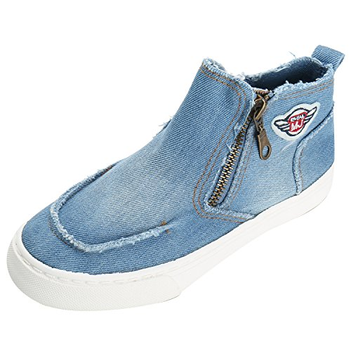 Alexis Leroy Kids Boys Girls Fashion Casual High Top Zip Closure Shoes Canvas Blue Sneaker