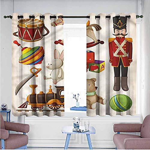 - VIVIDX Simple Curtains,Kids,Wooden Toy Rocking Horse Drum,Room Darkening, Noise Reducing,W55x39L
