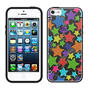 iPhone 6 Rainbow Stars on Black See Through Case with Black Trim