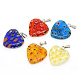 Housweety 20 Mixed Millefiori Glass Lampwork Heart Charm Pendants
