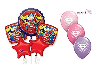 DC SUPER HERO GIRLS Super Girl Balloon Bouquet ~ 8 Balloons ~ Party Decorations