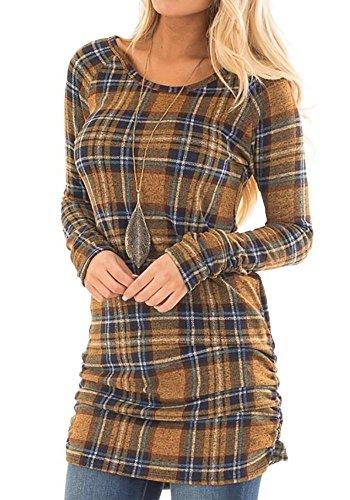Umeko Womens T Shirt Dress Buffalo Plaid Ruched Casual Long Sleeve Tunic Tops for Leggings Buffalo Plaid Tunic Top