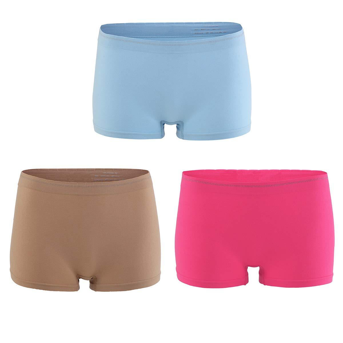 BaiTao Women/'s Seamless Nylon Panties 3 Pack Underwear Soft Breathable Boyshorts