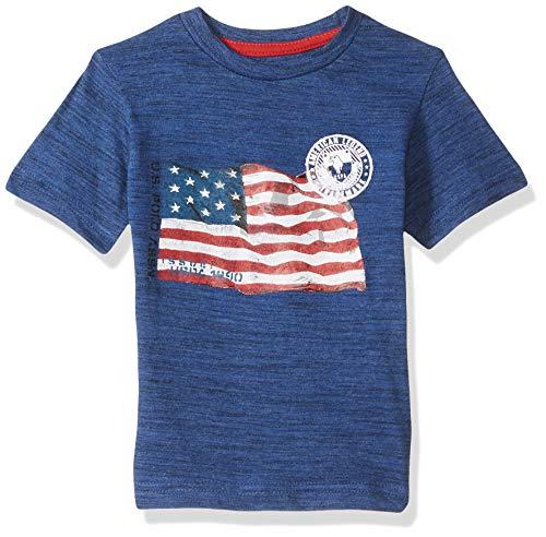 U.S. Polo Assn. Boys' Little Short Sleeve American Flag T-Shirt, Marina Blue Injection, 5/6 ()